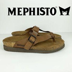 MEPHISTO Helen Brown Leather Toe Loop Sandal SZ 40